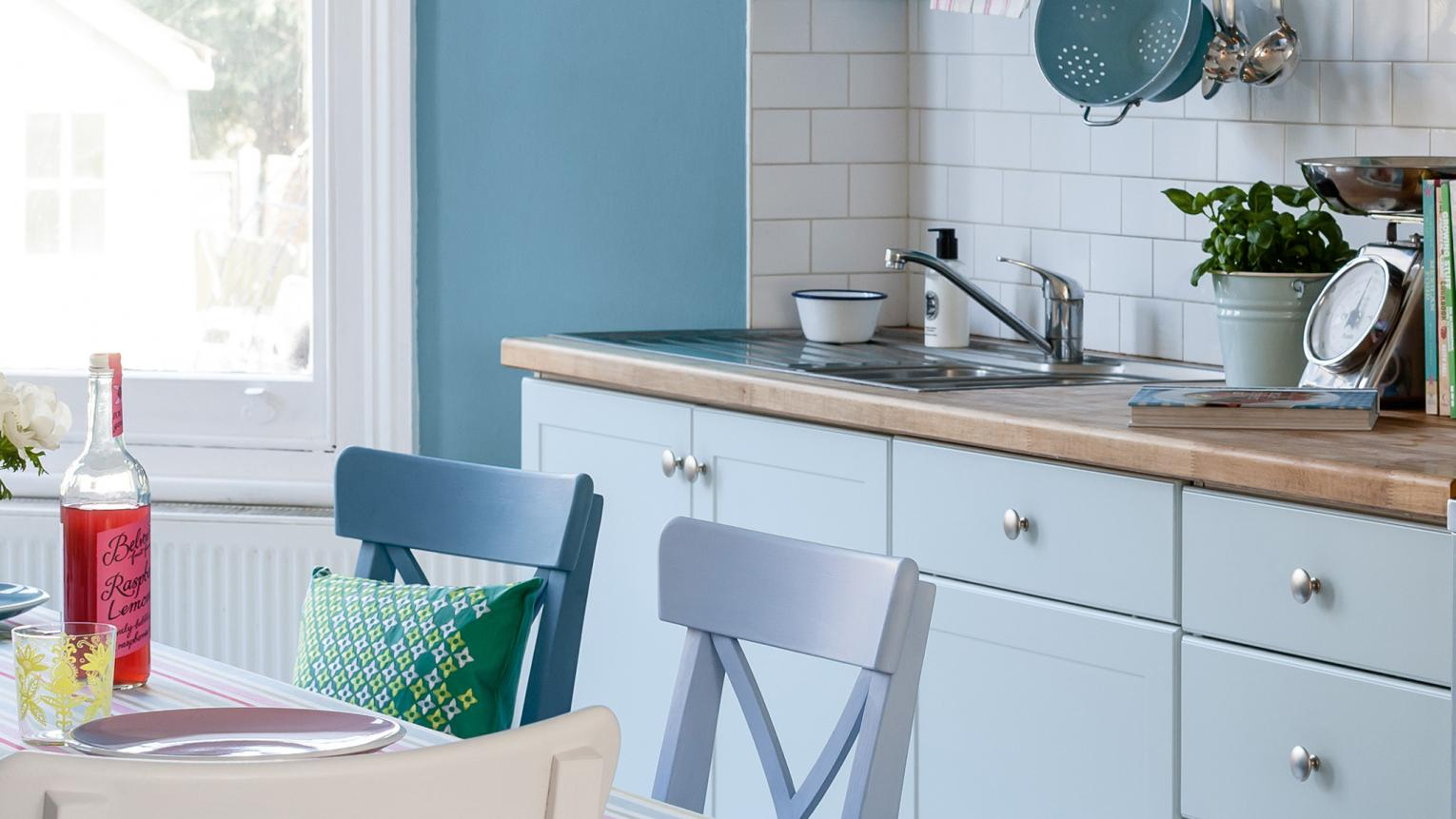 Give your kitchen a subtle wash of Dulux colour with pops of pretty pastel shades like powder blue, rose and sage.