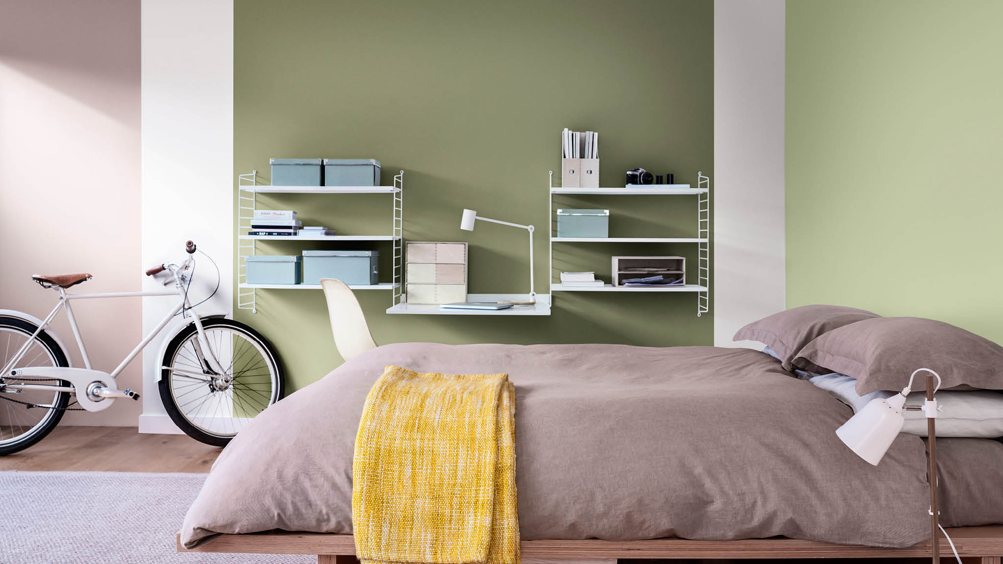 Pair green with Heart Wood for an energising bedroom